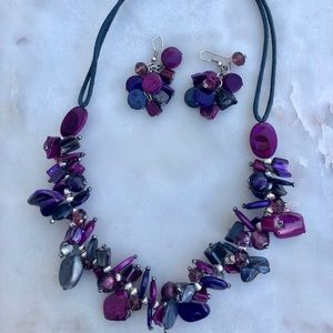TWO chip beaded necklace earring SETS